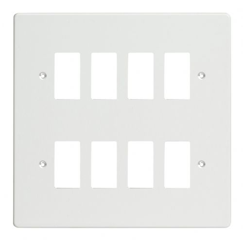 Varilight XDQPG8 PowerGrid Premium White 8-Gang Grid Plate (Double Twin Plate)